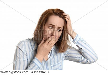 Emotional Woman Suffering From Baldness On White Background