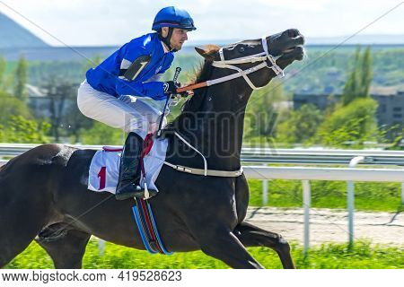 Pyatigorsk,russia - May 2,2021:before Horse Race - Jockey Boldirev On Brown Stallion Dzho River Of P