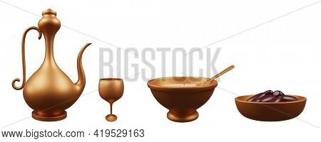 3D Render Of Islamic Iftar Setup As Bronze Arabic Jug, Glass, Dates (Fruit) And Sweet Dish (Siwai) Bowl On White Background.