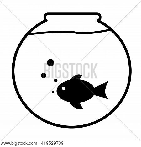 Fish Bowl Icon On White Background. Aquarium Sign. Fish Swimming In A Fish Bowl. Flat Style.