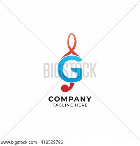 Letter G Alphabet Music Logo Design Isolated On White Background. Initial And Musical Note, Treble C