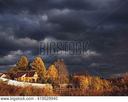 Chernousovo Village, Sverdlovsk Region, Russia, October 03, 2020: House In The Village.