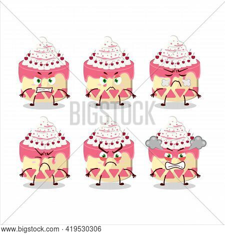 Sweety Cake Cherry Cartoon Character With Various Angry Expressions