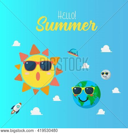 Summertime Poster With Planet Characters Wearing Sunglasses. Planet Earth Wearing Sunglasses Againts