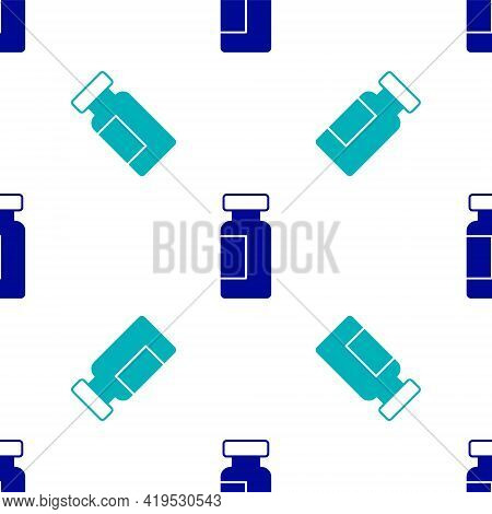 Blue Test Tube And Flask Chemical Laboratory Test Icon Isolated Seamless Pattern On White Background