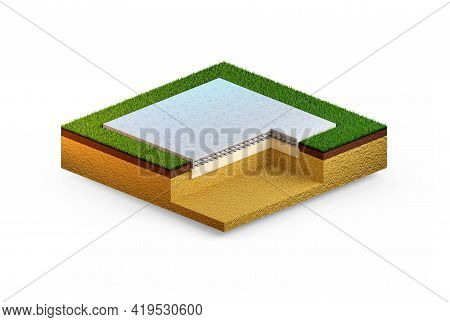 Poured Reinforced Cement Slab Foundation. Isolated Concept Industrial 3d Rendering