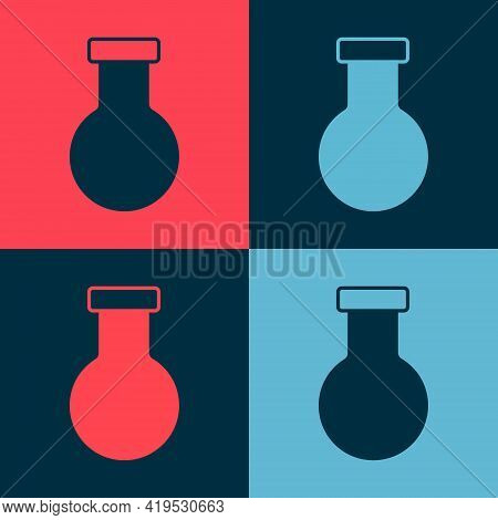 Pop Art Test Tube And Flask Chemical Laboratory Test Icon Isolated On Color Background. Laboratory G