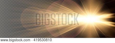 Sunlight Translucent Special Light Effect Design. Vector Blur In Radiance Light. Isolated Sunlight T