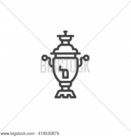 Retro Tea Maker Line Icon. Linear Style Sign For Mobile Concept And Web Design. Samovar Outline Vect