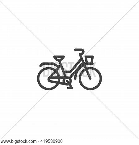 Retro Bicycle Line Icon. Linear Style Sign For Mobile Concept And Web Design. Bicycle With Basket Ou