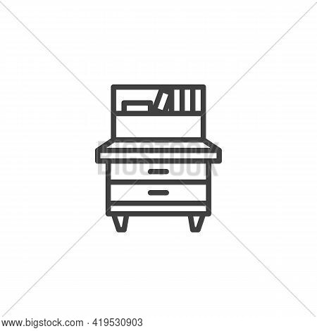 Retro Cupboard Line Icon. Linear Style Sign For Mobile Concept And Web Design. Vintage Sideboard Out