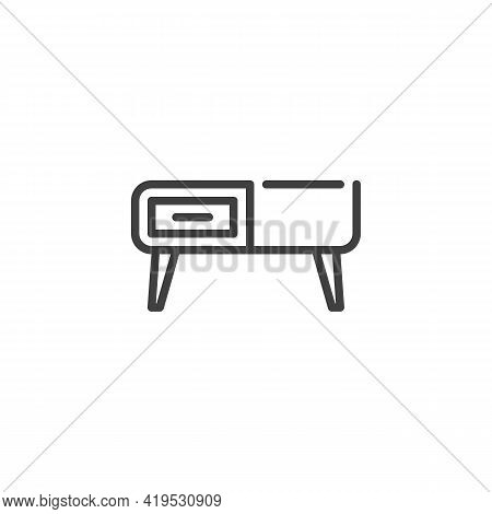 Retro Sideboard Line Icon. Linear Style Sign For Mobile Concept And Web Design. Vintage Cupboard Out