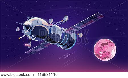 Vector Illustration Card With Spaceship Satellite In Space With Moon. Space History Program, Human E