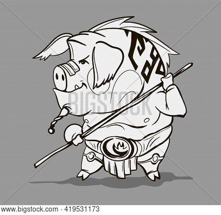 Chinese Zodiac Animal Cartoon. Coloring Page With Pig Hand Drawn Character. Vector Design For Your G