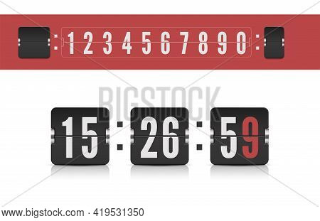 Scoreboard Number Font. Vector Modern Ui Design Old Countdown Timer. Coming Soon Web Page Design Wit