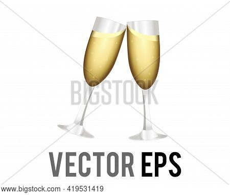 The Isolated Vector Two Flutes Of Alcohol Drink Gold Champagne Sparkling Wine Icon Being Clinked Tog