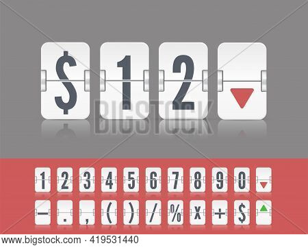 White Analog Flip Airport Board Countdown Timer. Flip Number And Symbol Scoreboard. Stock Exchange V