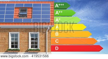 House energy efficiency concept. House with solar panel and energy efficiency rating. 3d illustration