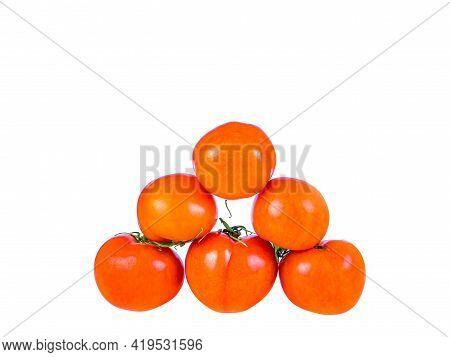 Red Tomatoes Vegetables On A White Background.