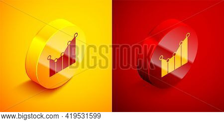 Isometric Graph, Schedule, Chart, Diagram, Infographic, Pie Graph Icon Isolated On Orange And Red Ba