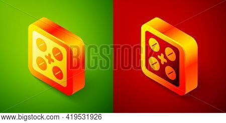 Isometric Pills In Blister Pack Icon Isolated On Green And Red Background. Medical Drug Package For