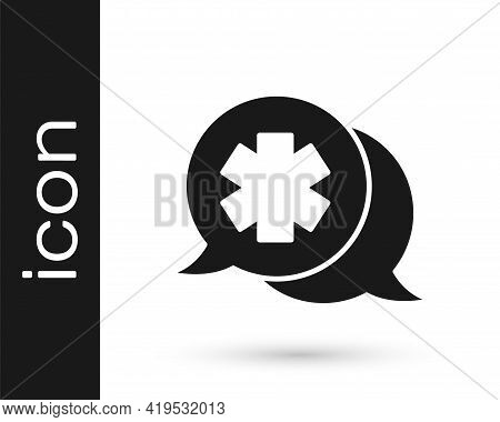 Black Dialogue With The Doctor Icon Isolated On White Background. Doctor And Patient Dialog. Consult