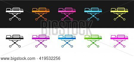 Set Stretcher Icon Isolated On Black And White Background. Patient Hospital Medical Stretcher. Vecto