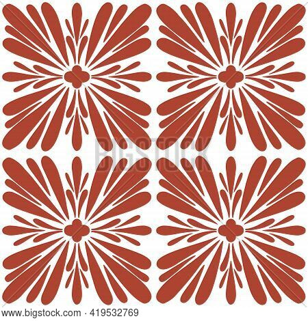 Tile Portugal Flower Seamless Pattern. Dusty Rose Color Geometric Background. Traditional Azulejo Re