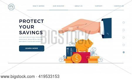 Protect Your Savings Web Template. Business Hand Covers The Wealth, Provides Security. Piggy Bank, C