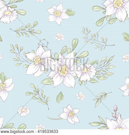 Seamless Pattern Of Spring Beautiful Flowers Daffodils