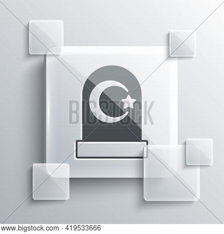 Grey Muslim Cemetery Icon Isolated On Grey Background. Islamic Gravestone. Square Glass Panels. Vect
