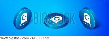 Isometric Muslim Cemetery Icon Isolated On Blue Background. Islamic Gravestone. Blue Circle Button.