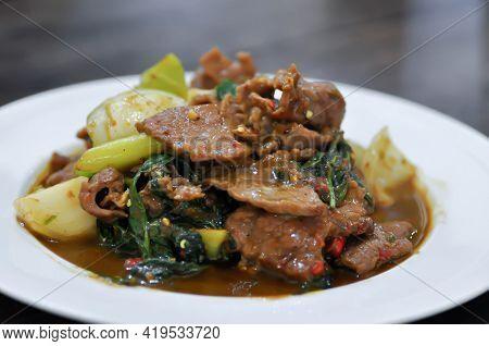 Stir Fried Beef With Caraway Or Stewed Beef, Thai Food