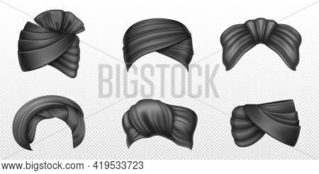 Black Turbans, Indian And Arab Headdress For Man And Woman. Vector Realistic Set Of Winding Headscar