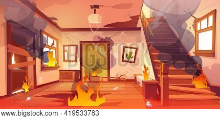 Old Abandoned House On Fire. Flame And Black Smoke Clouds Inside Home. Vector Cartoon Interior Of Bu