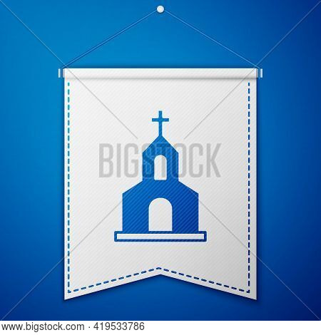 Blue Church Building Icon Isolated On Blue Background. Christian Church. Religion Of Church. White P