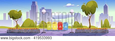 City Park With Recycling Bins For Sorting Waste, Garbage Separation To Protect Environment. Summer L