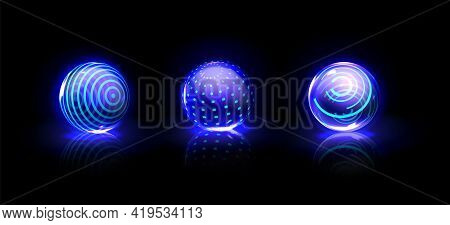 Force Shield Bubbles, Energy Glowing Blue Balls, Spheres, Defense Fields. Science Fiction Glowing De