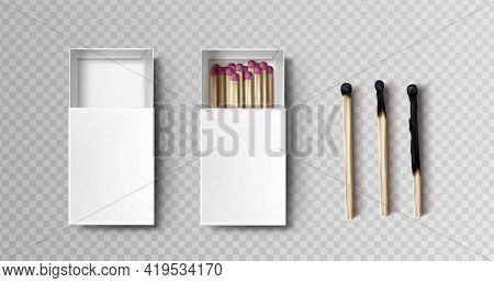 Matches In Box, Stages Of Burning From Black Firebrand Head To Charred Burnt Wooden Stick, Matchstic