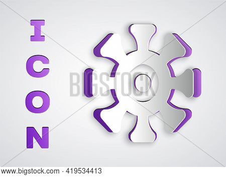 Paper Cut Bacteria Icon Isolated On Grey Background. Bacteria And Germs, Microorganism Disease Causi
