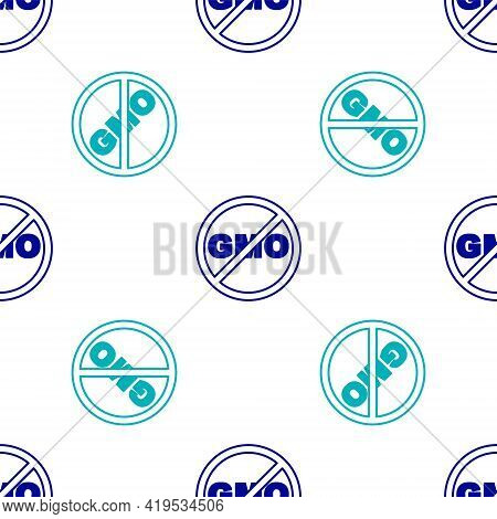 Blue No Gmo Icon Isolated Seamless Pattern On White Background. Genetically Modified Organism Acrony