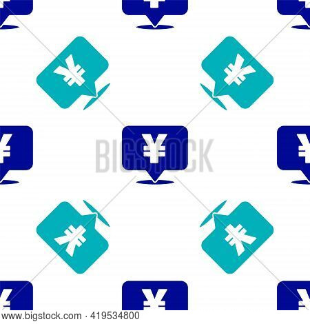 Blue Chinese Yuan Currency Symbol Icon Isolated Seamless Pattern On White Background. Coin Money. Ba