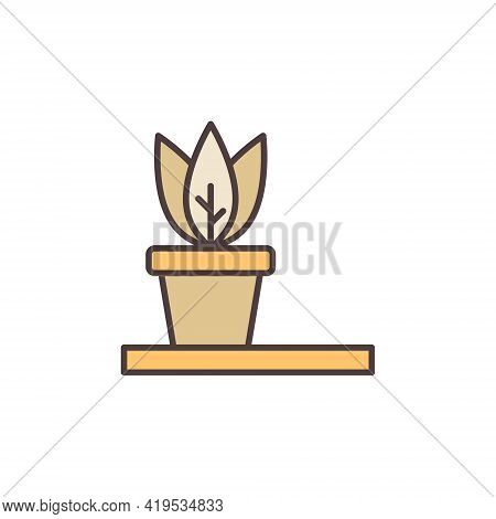 Flowerpot Vector Concept Colored Modern Icon Or Sign
