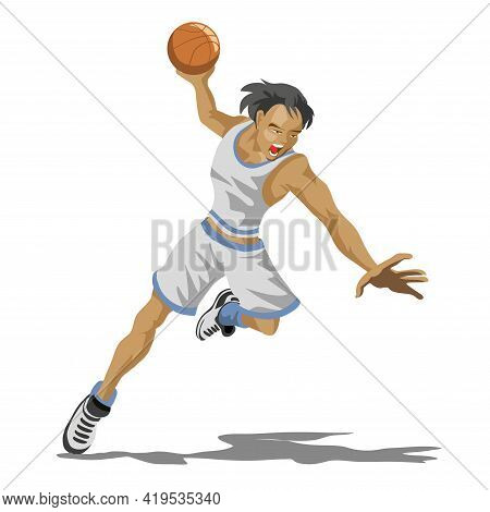 Cool Basketball Player In White Uniform With The Ball. Stylized Player. Isolated Flat Cartoon. Athle