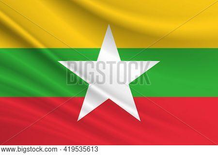 Flag Of Myanmar. Fabric Texture Of The Flag Of Myanmar.