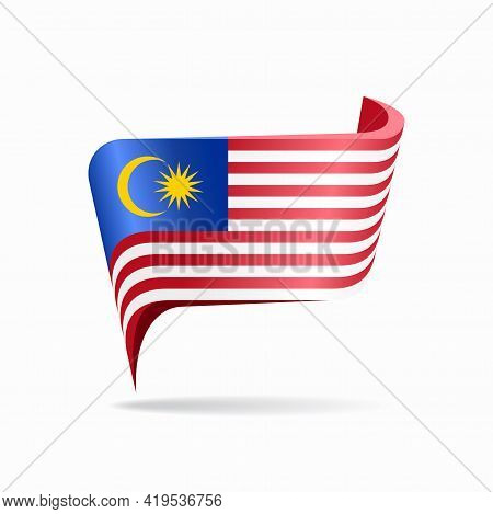 Malaysian Flag Map Pointer Layout. Vector Illustration.