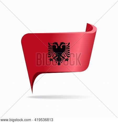 Albanian Flag Map Pointer Layout. Vector Illustration.