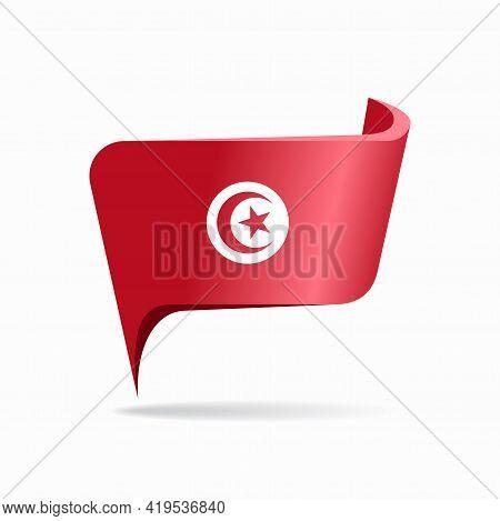Tunisian Flag Map Pointer Layout. Vector Illustration.