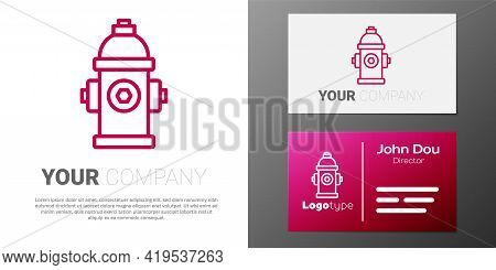 Logotype Line Fire Hydrant Icon Isolated On White Background. Logo Design Template Element. Vector