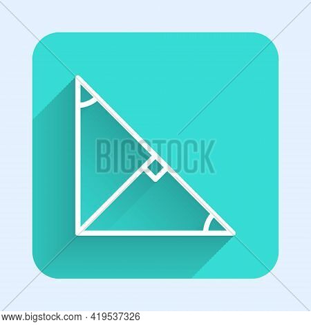 White Line Angle Bisector Of A Triangle Icon Isolated With Long Shadow. Green Square Button. Vector